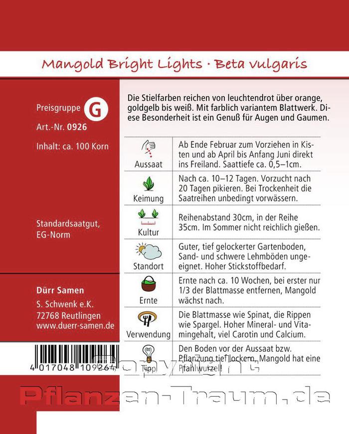 Mangold Samen Bright Lights Beta Vulgaris Samen Durr Pflanzen